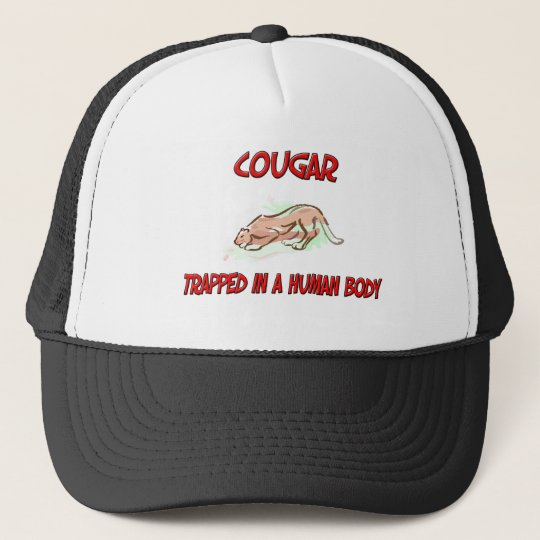 Cougar trapped in a human body trucker hat