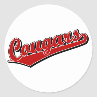 Cougars in Red Round Stickers