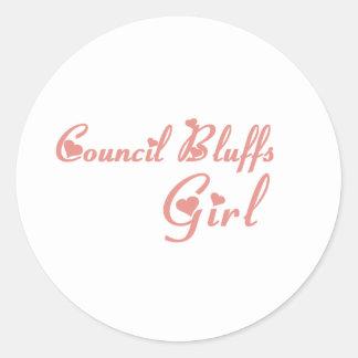 Council Bluffs Girl tee shirts Classic Round Sticker