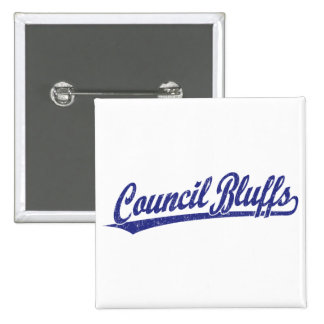 Council Bluffs script logo in blue 15 Cm Square Badge