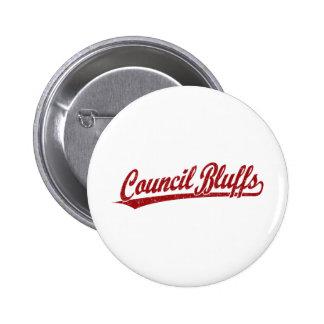 Council Bluffs script logo in red 6 Cm Round Badge