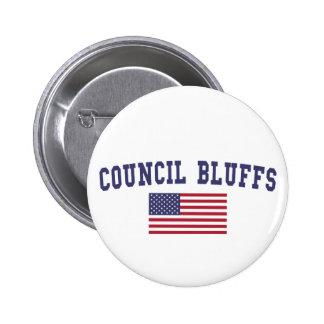 Council Bluffs US Flag 6 Cm Round Badge