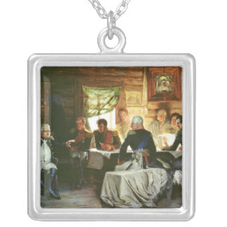 Council of War in Fili in 1812, 1882 Square Pendant Necklace