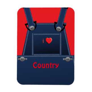 Counrty Folk Overalls Red Heart PM Rectangular Photo Magnet