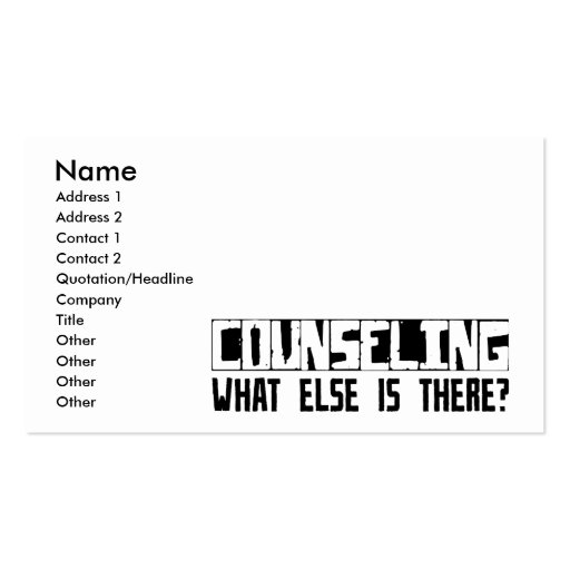 Counseling What Else Is There? Business Card Templates