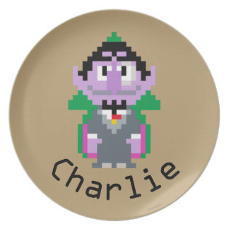 Count von Pixel Art | Add Your Name Dinner Plate