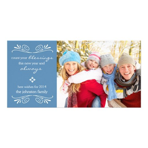 Count Your Blessings New Year Photo Card / Blue Custom Photo Card