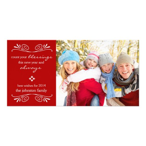 Count your Blessings New Year Photo Card / Red Customized Photo Card