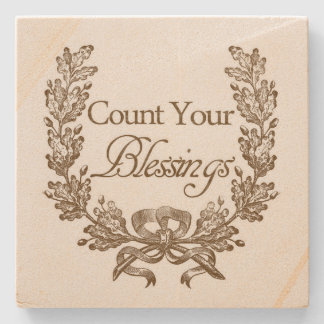 Count Your Blessings Stone Beverage Coaster