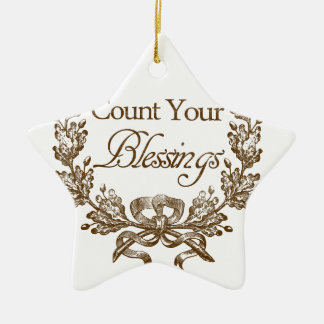 count your blessings vintage typography christmas ornament
