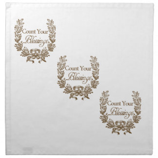 count your blessings vintage typography napkin