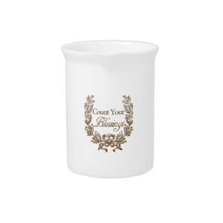count your blessings vintage typography pitcher