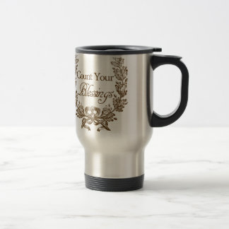 count your blessings vintage typography travel mug