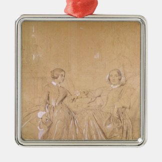 Countess Charles d'Agoult and her daughter Silver-Colored Square Decoration