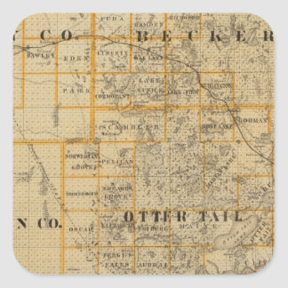 Counties of Clay, Wilkin, Becker, Minnesota Square Sticker