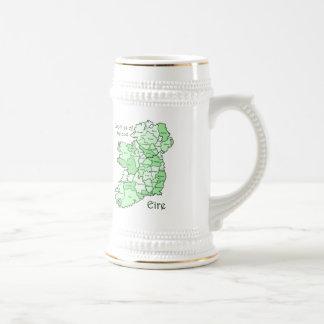Counties of Ireland Map Beer Stein