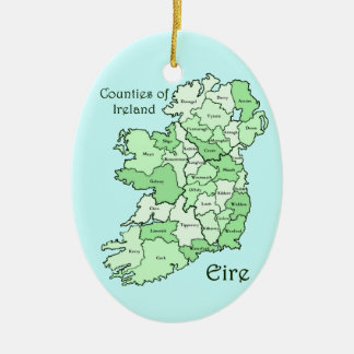 Counties of Ireland Map Ceramic Oval Decoration
