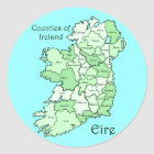 Counties of Ireland Map Classic Round Sticker
