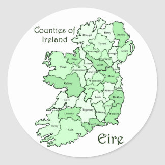 Counties of Ireland Map Classic Round Sticker