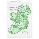Counties of Ireland Map Greeting Card