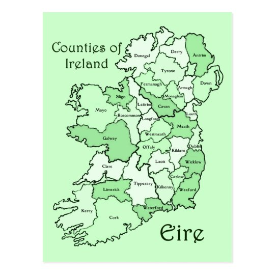 Counties of Ireland Map Postcard