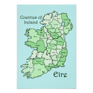 Counties of Ireland Map Poster