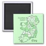 Counties of Ireland Map Square Magnet