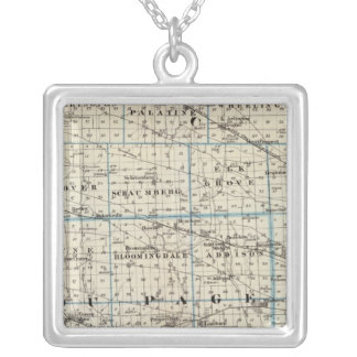 Counties of Kane, Du Page, and nearly all of Cook Silver Plated Necklace