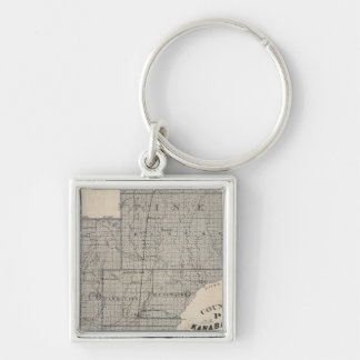 Counties of Pine, Kanabec, Minnesota Silver-Colored Square Key Ring