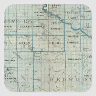 Counties of Renville, Redwood, Minnesota Square Sticker