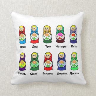 Counting Russian Nesting Dolls  (matroshka) Throw Cushions