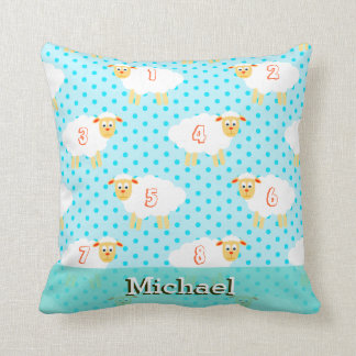counting sheep blue baby boy cushion pillow