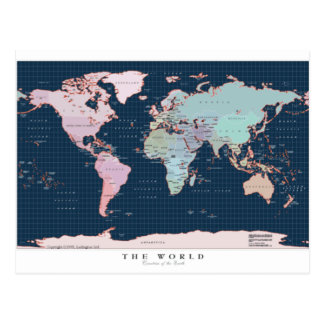 Countries of The World Map Postcard