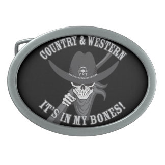 Country and Western Skull Belt Buckle