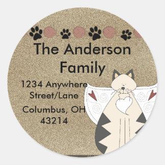 Country Angel Cat Round Return Address Label Round Sticker