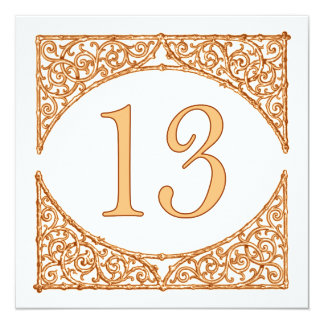 Country Autumn Wood Screen Table Number 13 13 Cm X 13 Cm Square Invitation Card