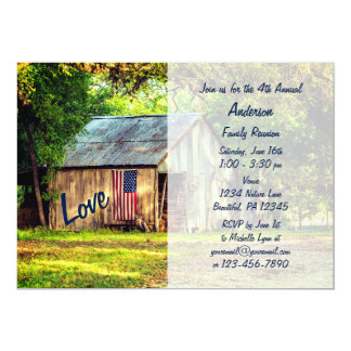 Country Barn American Flag Family Reunion Invite