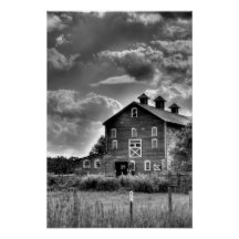 Country Barn Clouds in Black and White Poster