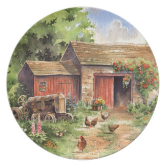 """Country Barn"" Rustic Barnyard Scene Party Plates"
