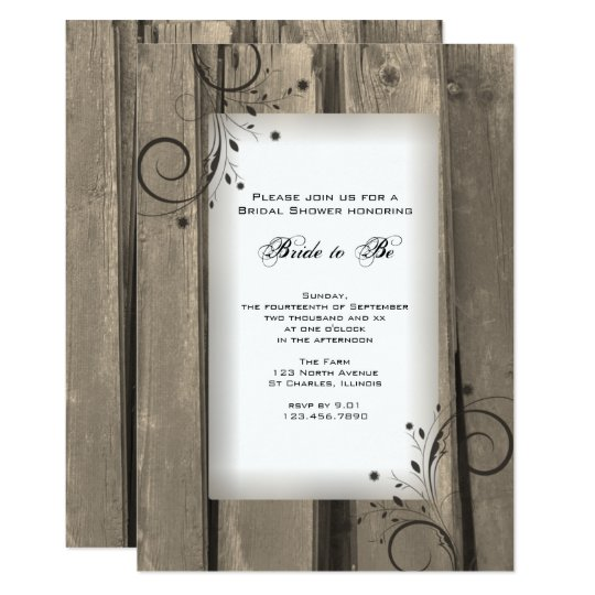 Country Barn Wood and Flowers Bridal Shower Invite