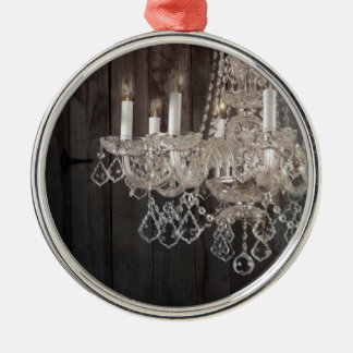 Country barn wood Parisian vintage chandelier Christmas Ornament