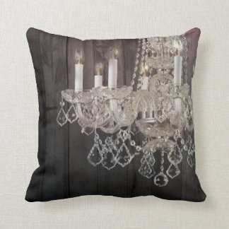 Country barn wood Parisian vintage chandelier Cushion