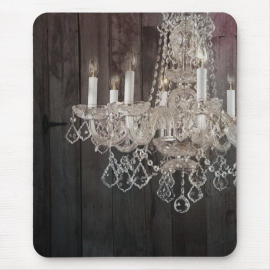 Country barn wood Parisian vintage chandelier Mouse Mat