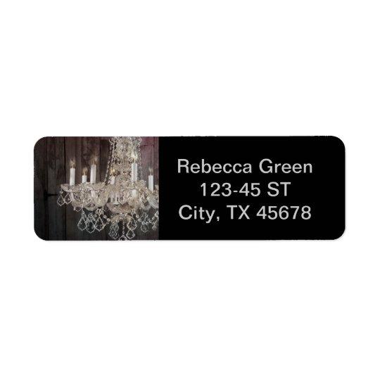 Country barn wood Parisian vintage chandelier Return Address Label
