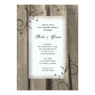 Country Barn Wood Post Wedding Brunch 13 Cm X 18 Cm Invitation Card