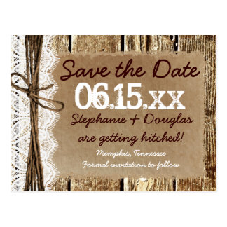 Country Barn Wood Rustic Save the Date Postcards