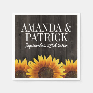 Country Barn Wood + Rustic Sunflower Wedding Disposable Napkins
