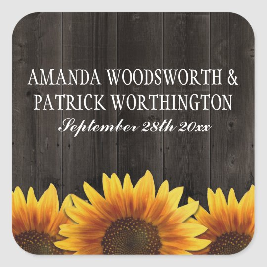 Country Barn Wood Rustic Sunflower Wedding Favours Square