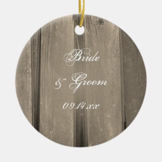 Country Barn Wood Wedding Bridesmaid Thank You Christmas Ornament