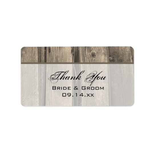 Country Barn Wood Wedding Thank You Favour Tag Address Label